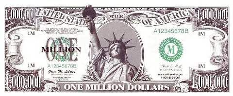 picture relating to Fake 1000 Dollar Bill Printable referred to as Million Greenback Invoice Just 10¢ every. Absolutely free Transport upon ALL orders
